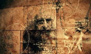 Leonardo da Vinci portrait and anatomical sketches.   Source: klss777 / Adobe Stock