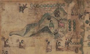 Top left section detail of (1593) [The Codex Quetzalecatzin]. [Mexico: Producer not identified] [Map] Retrieved from the Library of Congress.