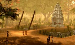 One of the scenes created by the research team, depicting a small temple in the surrounds of Angkor Wat. Tom Chandler and Brent McKee (Monash University)
