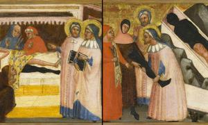 The painting of Saints Cosmas and Damian that shows the reported miraculous healing of a man by amputating his leg and transplanting the healthy leg of a dead man onto his body, then placing the diseased leg in the casket of the deceased.