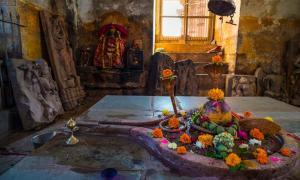 Shiva lingam temple interior.