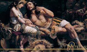 Samson and Delilah by Jose Etxenagusia (1887)