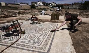 A well-preserved mosaic on the archaeological site of Sainte-Colombe, Vienne.