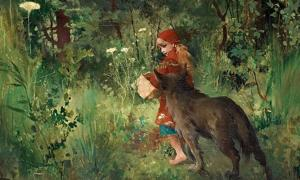 """""""Little Red Riding Hood and the wolf in the forest"""" (1881) by Carl Larsson."""