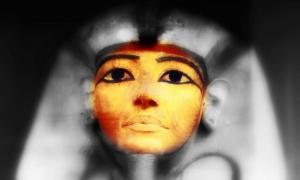 Face of the coffin in which the mummy of Ramesses II was found. (Credit: Petra Lether, designed by Anand Balaji)