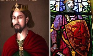Left: Portrait of Llywelyn the Great (Hogyncymru / CC BY-SA 4.0). Right: Stain glass window depiction of Llywelyn the Great (Llywelyn2000 / CC BY-SA 4.0).