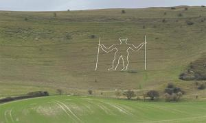 England's Long Man Vandalized By Covid-19 Criminals