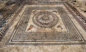 One of the beautiful mosaics was surrounded by images of a fawn, duck, eagle and owl.