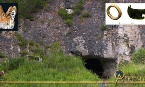 The Denisova Cave in the Altai Krai region of southern Siberia. Here over the last decade archaeologists have uncovered anatomical evidence of a previously unknown hominin today known as the Denisovans. Inset, left, one of the two huge Denisovan molars found in the cave's layer 11 and, right, one of the pierced ostrich eggshell beads along with the fragment of choritolite bracelet found in the same layer of archaeological activity (Wiki Commons Agreement, 2018).