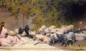 Circe and her swine by Briton Rivière (1896)(Public Domain)
