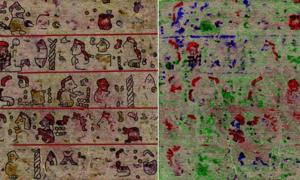 Pages 11 and 10 of the rediscovered codex with a reconstruction below