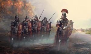 Roman leader and his soldiers. Credit: vukkostic / Adobe Stock