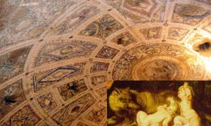 Photo of the dome of the so-called Lupercal Cave, taken by a probe beneath the Domus Livia on the Palatine Hill, Rome, Italy.