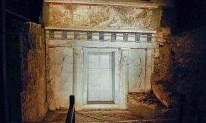 The tomb of Philip II of Macedon at the Museum of the Royal Tombs in Macedonian Aigai, Vergina     . Source: Public Domain