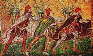 A Byzantine depiction of the Three Wise Men (526 AD), Basilica of Sant' Apollinare Nuovo, Ravenna, Italy.
