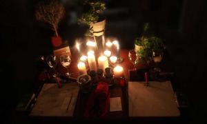 A modern Pagan Wiccan altar set up.
