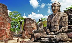 Buddha in Polonnaruwa temple - medieval capital of Ceylon whose history the Mahavamsa describes.
