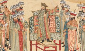 A miniature from the Rashid al-Din's Jami' al-Tawarikh showing Mahmud of Ghazni receiving a richly decorated robe of honour form the Abbasid caliph in 1000 AD.