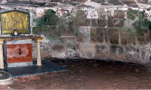 The altar in the lower chamber, Mamertine prison  Rome, Italy