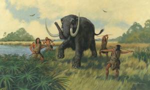 Mammoth hunting scene