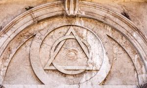 Illuminati Triangle and All Seeing Eye on an ancient temple.