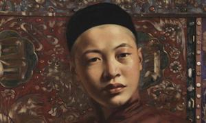 Hubert Vos' painting of a young Manchu man. Manchu shaman were important cultural icons