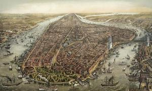 Bird's eye panorama of Manhattan in 1873. The Brooklyn Bridge was under construction from 1870 until 1883.