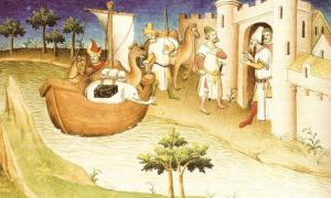 "Marco Polo travelling, Miniature from the Book ""The Travels of Marco Polo"""