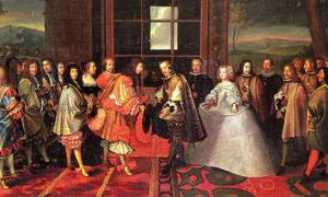 Meeting on the Isle of Pheasants, June 1660; Maria Theresa is handed over to the French and her husband by proxy, Louis XIV.