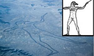 An aerial view of Marree Man and an outline illustrated by Lisa Thurston.