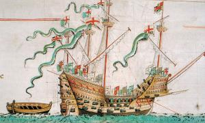 The Mary Rose depicted on the Anthony Roll of Henry VIII's Navy