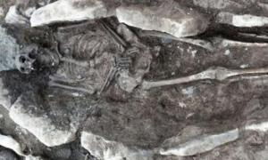One of the skeletons found beneath Coleg Menai in Llangefni, Wales. Credit: Archaeology Wales.