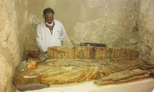 A well-preserved wooden coffin found inside the tomb of an ancient noble in Luxor, Egypt.