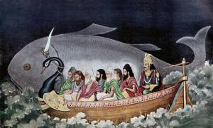 Matsya protecting Svayambhuva Manu and the seven sages at the time of Deluge