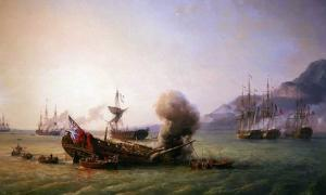 Battle of Grand Port by Pierre-Julien Gilbert