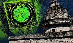 El Caracol Observatory at Chichen Itza (Wright Reading/CC BY-NC 2.0) and Composite 3D laser scan image of El Caracol from above
