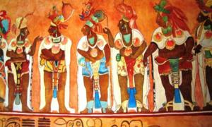 This is an artist's copy of a mural at the Temple of the Murals at Bonampak, a Maya archaeological site showing examples of heavy jewelry.