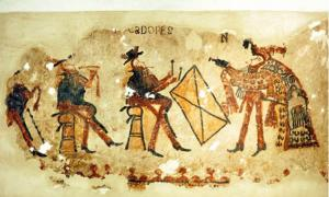 Part of the Maya wall paintings featuring musicians dressed in European attire (three figures on the left) and a dancer in Maya dress (rightmost figure).  Image: R. Słaboński / Antiquity Publications Ltd