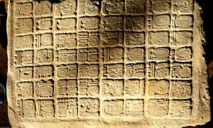Hieroglyphic panel discovered at La Corona's Palace, El Petén, Guatemala