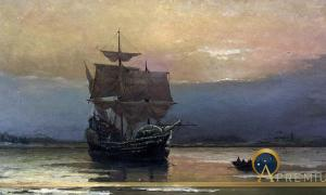The Mayflower by William Halsall, (1882) (Public Domain)