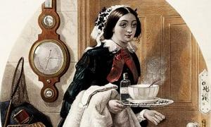 'A maid bringing medicine and soup to her master who has a cold.' (1857)