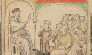Medieval teaching scene.