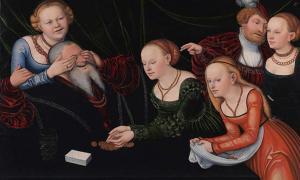 Old man beguiled by courtesans.