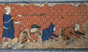 Medieval illustration of men harvesting wheat with reaping-hooks