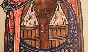 Medieval style bathing depicted in calligraphy of a book circa 1400.