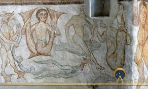 Tramin (South Tyrol. )Saint James church in Kastelaz: Romanesque frescos (1210s ) showing fantastic creatures. (Public Domain)