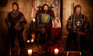 Medieval Queen, her King and knights in castle.