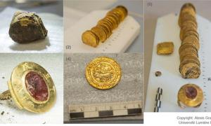 (1) Knotted tanned hide bundle before extraction of contents; (2) & (4) gold dinars; (3) signet ring with intaglio; (5) contents of knotted tanned hide bundle.
