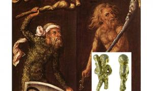 """Main: A painting titled """"Sylvan Men"""" by Albrecht Durer, 1499; """"sylvan"""" means of the forest. (Wikimedia Commons). Inset: The Wild Man has a long history in humanity's legends and myths. This photo shows the spoon handle found near Ipswich. (Photo by Suffolk County Council Archaeological Service)"""