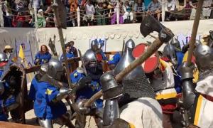 Full Contact Sword Combat during the Medieval combat in Russia. Source: Wranglerstar / YouTube Screenshot.